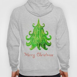 Watercolor Modern Christmas Tree Hoody