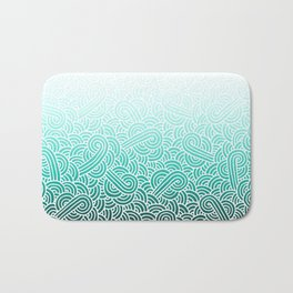 Faded teal blue and white swirls doodles Bath Mat