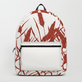 Stylized wheat ears on a white background. Backpack