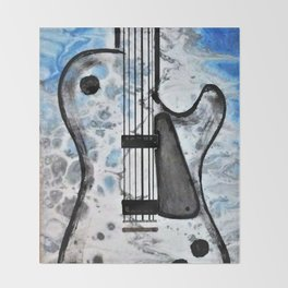 Guitar Art. Featured on back cover of The Music and Art of Black Cat Records. Throw Blanket