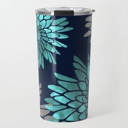 Floral Chrysanthemum Modern Navy Aqua Travel Mug