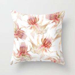Vintage Blushing Bride Protea Throw Pillow