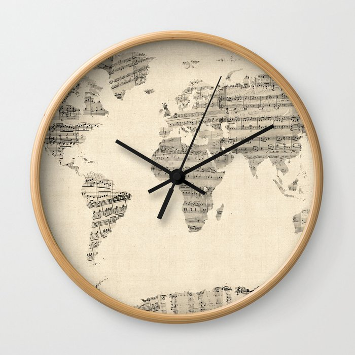 Old sheet music world map wall clock by artpause society6 gumiabroncs Gallery