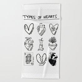 TYPES OF HEARTS Beach Towel