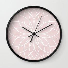 Mandala on Pink Watercolor Background Wall Clock