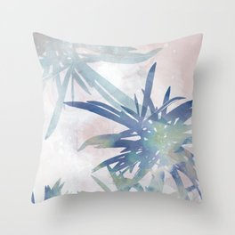 Navy Blue and Blush Pink Palm Leaf Watercolor Painting Throw Pillow