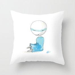 Blue Bobblehead Throw Pillow