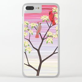 cardinals and dogwood blossoms Clear iPhone Case