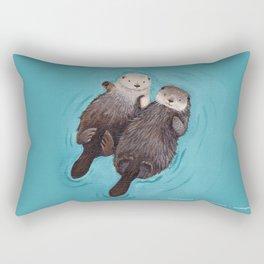 Otterly Romantic - Otters Holding Hands Rectangular Pillow