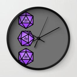 Purple d20 Wall Clock