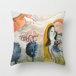 chagall watercolor Throw Pillow