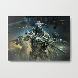 Night time Sniper Hunting Metal Print