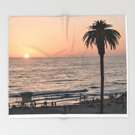 Moonlight Beach Sunset Throw Blanket