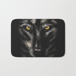 hand-drawing portrait of a black wolf on a black background Bath Mat