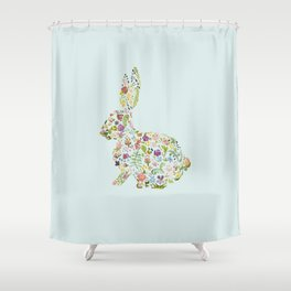Spring Flowers Bunny on Blue Shower Curtain