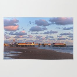 Blackpool Central Pier Sunset Rug