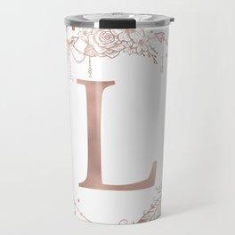 Letter L Rose Gold Pink Initial Monogram Travel Mug