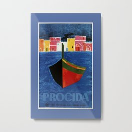 Procida Napels Italy retro vintage travel ad Metal Print