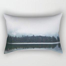 Minimalist Cold Landscape Pine Trees Water Reflection Symmetry Rectangular Pillow
