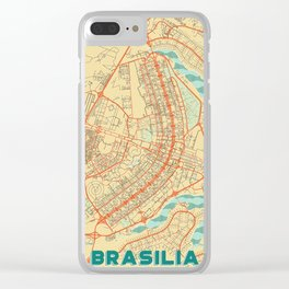Brasilia Map Retro Clear iPhone Case