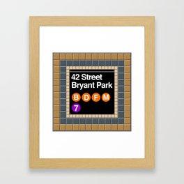 subway bryant park sign Framed Art Print