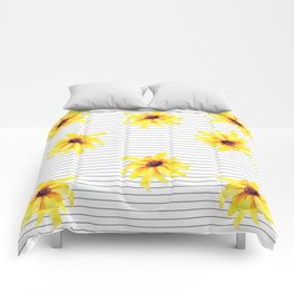 Yellow Daises on Minimal Black and White Stripes Comforters