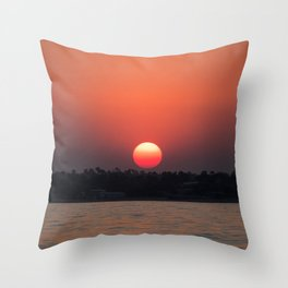Really red sun Throw Pillow