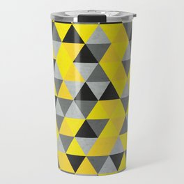 Sunny Yellow and Grey / Gray - Hipster Geometric Triangle Pattern Travel Mug