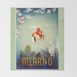 Horse riding, golf and tennis in 1920s Merano Throw Blanket