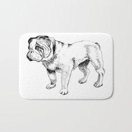 Bulldog Ink Drawing Bath Mat