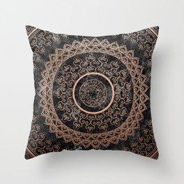 Mandala - rose gold and black marble Throw Pillow