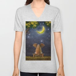 Illustration of a elephant on a bench in the night forest  Unisex V-Neck