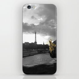 Eiffel tower Paris black and white with color GOLD iPhone Skin