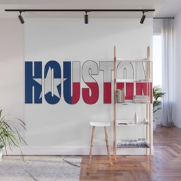 Houston TX Text with Lone Star Flag Wall Mural