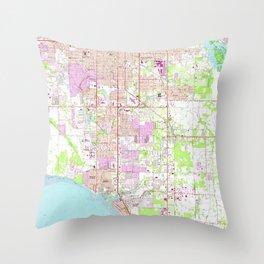 Vintage Map of Bradenton Florida (1964) Throw Pillow