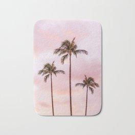 Palm Tree Photography Landscape Sunset Unicorn Clouds Blush Millennial Pink Bath Mat