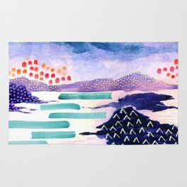 Balmaha Scottish Colourful Watercolour Painting Rug