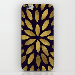Classic Golden Flower Leaves Pattern iPhone Skin
