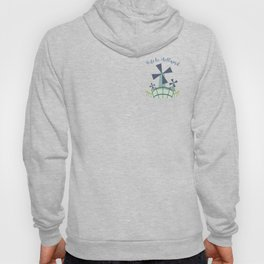 Dutch windmill with canal footbridge blue Hoody