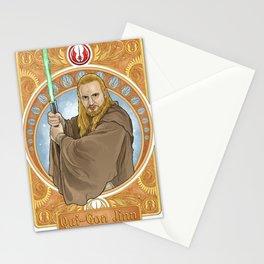 Qui-Gon Jinn in nouveau art Stationery Cards