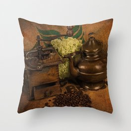 Vintage coffee grinder and pot Throw Pillow