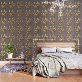 GOLD CALLA LILIES & DRAGONFLIES ON GREY Wallpaper