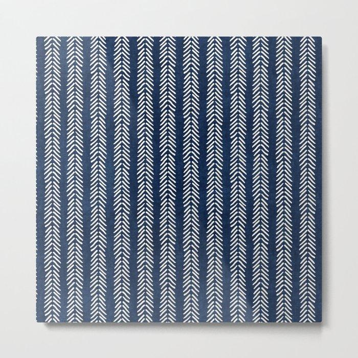 Mud cloth - Navy Arrowheads Metal Print