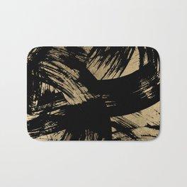 Elegant black faux gold modern brushstrokes pattern Bath Mat