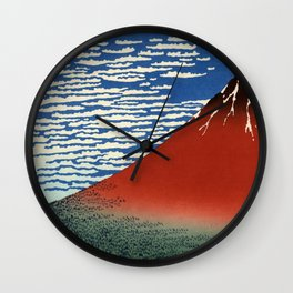 "Hokusai (1760–1849) ""Fuji, Mountains in clear Weather (South Wind, Clear Sky)(Red Fuji)"" Wall Clock"