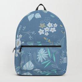 Glacier Colors//Blue Flowers//Leaves, Bird Backpack
