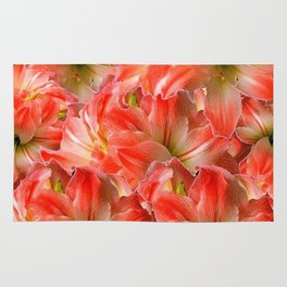 Pink & Red Amaryllis Patterns Floral Art Rug