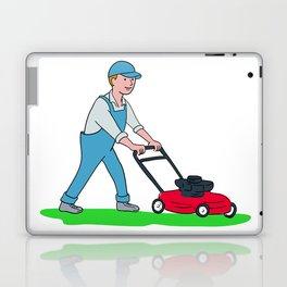 Gardener Mowing Lawn Cartoon Laptop & iPad Skin