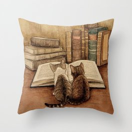 Kittens Reading A Book Throw Pillow