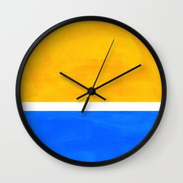 Primary Yellow Cerulean Blue Mid Century Modern Abstract Minimalist Rothko Color Field Squares Wall Clock